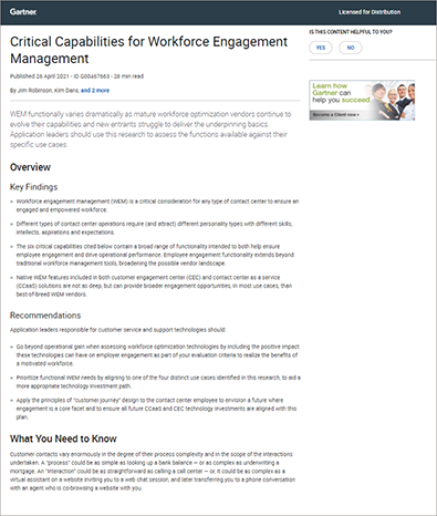 Critical Capabilities for Workforce Engagement Management